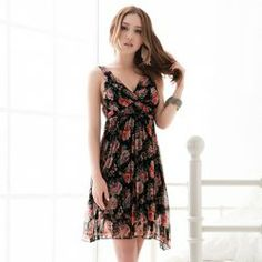 Sophisticated Cross Type Plunging Neck Floral Print High-Waist Sleeveless Chiffon Dress For Women