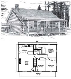 A large family will appreciate the three roomy bedroom,s two full baths, and farmer's porch. Log Cabin Floor Plans, Cabin House Plans, Tiny House Cabin, Log Cabin Homes, New House Plans, Dream House Plans, Small House Plans, House Floor Plans, Barn Plans
