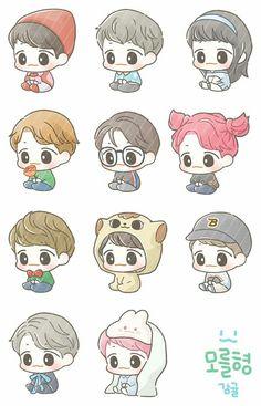 Exo Cartoon, Cute Cartoon Drawings, Cartoon Art, Exo Stickers, Cartoon Stickers, Cute Stickers, Baekhyun Fanart, Exo Anime, Exo Korean
