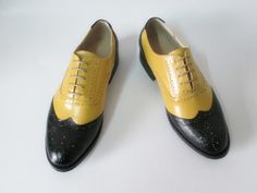 Yellow and black leather oxford shoes by UniqueFlavor on Etsy, $100.00