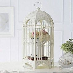 cage with flowers instead birds inside