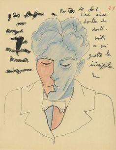 self-portrait by Jean Cocteau, 1924