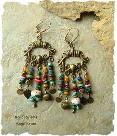 Boho Gypsy Assemblage Earrings, Colorful Bohemian Jewelry, Rustic Tribal…