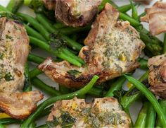 Lamb cutlets with green bean and asparagus salad