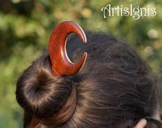 Moon DoubleSided Hair Stick in Linden and Mahogany by ArtisIgnis