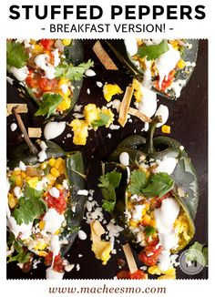Tex-Mex Breakfast Stuffed Peppers: Roasted Poblano peppers stuffed with eggs, corn strips, corn, queso fresco, salsa, and a light sour cream sauce! This is one good breakfast pepper!