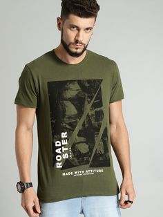 Buy Roadster Men Olive Green Printed Round Neck T Shirt - Tshirts for Men 8240329 Juniors Graphic Tees, Cute Graphic Tees, Boys T Shirts, Tee Shirts, Cool Shirt Designs, Custom Made Shirts, Floral Print Shirt, Neck T Shirt, Shirt Men