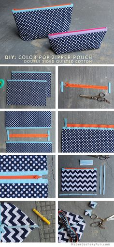 DIY.. Color Pop Zipper Pouch | Haberdashery Fun: Riley Blake Designs Quilted Cotton #rileyblakedesigns #quiltedcotton