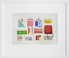 Day 256: Vintage Airline Tags by Lisa Congdon. Reminds me of Lisa Milroy which is a very good thing.