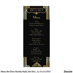 Menu Art Deco Gatsby Style, Art Deco Theme, 1920's 4x9.25 Paper Invitation Card