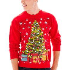 christmas tree fleece sweatshirt found at jcpenney ugly christmas sweater men sweater christmas - Jcpenney Christmas Sweaters