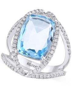 Effy Blue Topaz (9 ct. t.w.) and Diamond (5/8 ct. t.w.) Ring in 14k White Gold