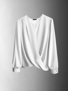 ebf3d7ee88016f Ann Taylor's Luxe Wrap Blouse adds grace to fall's more structured looks.  Would be nicer in something other than white. Already have too many white  shirts ...