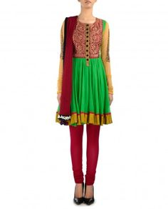 Parrot Green Anarkali Suit with Maroon Dupatta - $545