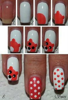 Teddy nails - passo a passo.