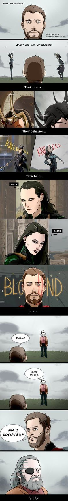 Fan comic of Thor: Ragnarok. Thor was confused about the fact that how similar that Loki and Hela are. Avengers Comics, Avengers Memes, Marvel Jokes, Marvel Funny, Thor Y Loki, Loki And Sigyn, Marvel Avengers, Dc Memes, The Villain