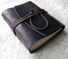 Leather Journal Midnight Blue/Navy handmade by DancingGreyStudio
