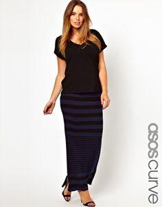 ASOS CURVE Maxi Skirt In Variegated Stripe