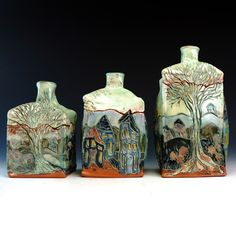 Crimson Laurel Gallery Molly  Lithgo Lidded Jar - Set of 3 http://www.crimsonlaurelgallery.com/Artist-Detail.cfm?ArtistsID=1128