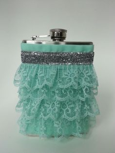Aqua and silver women's flask.  TFD Signature with Silver band Cowgirl Canteen. Unique bridesmaid gifts. $36.00