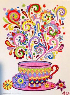 Coffee Cup Art, Coloring Book Art, Happy Paintings, Tea Art, Whimsical Art, Mandala Art, Doodle Art, Art Lessons, Painted Rocks