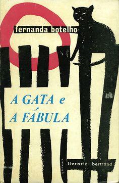 a gata e a fabula ( retro vintage illustration / mid century design / cat / gato / black cat / fence / vintage cover