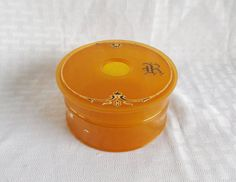 1930's Vintage Butterscotch Celluloid Hair Receiver Initial R by MyVintageHatShop, $10.00