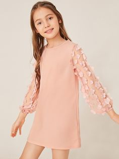 To find out about the Girls Appliques Mesh Sleeve Dress at SHEIN, part of our latest Girls Dresses ready to shop online today! African Dresses For Kids, Little Girl Dresses, Girls Dresses, Patchwork Dress, Applique Dress, Vintage Style Outfits, Types Of Sleeves, Baby Dress, Kids Outfits