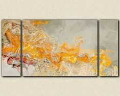 """""""La Patate Chaud"""" Abstract expressionism large triptych canvas by FinnellFineArt, $375.00"""