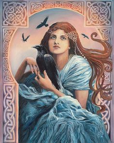 "Mórríghan ~ The Irish Goddess of fertility, war, and death would often appear on battlefields in the form of a crow or raven and would consume the dead. Her name means ""Great Queen"".  Painting by Emily Balivet"