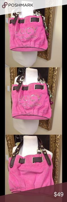 Juicy Couture Pink Handbag Adorable pink terry fabric with logo in front with clear stones and brown trim. Brown trim, cute cherry charm attached, nice condition, low price. Juicy Couture Bags Shoulder Bags
