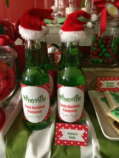 The Grinch Christmas party drinks! See more party planning ideas at CatchMyParty.com!
