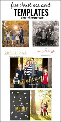 Four adorable and FREE Christmas card templates, no Photoshop required!! Step-by-step tutorial to easily adding your own photo!
