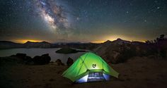 Photo School: Shoot a Tent at Night: Crater Lake, OR* SPECS: F/2.8, 30 sec, ISO 3200, 14MM Focal Length Tools: Headlamp, Tripod (Photo by Shane Black)