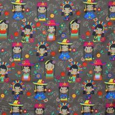 Kinderstoffe Baumwolle - Chinese Puppe Braun