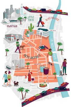 New illustration of LA's Arts District for the WSJ