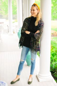 Hailes Tartan Classic Wrap | Barbour Preppy Outfits, Fall Outfits, Cute Outfits, Ballet Flats Outfit, Natural Blush, Plaid Scarf, Tartan, Ruffle Blouse