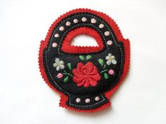 Traditional Hungarian Vintage Red black Felt Applique by gimmoka