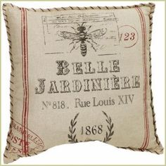 Belle Jardiniere Pillow—a French feed-sack design with a large bee motif covers a soft distressed muslin pillow for an eclectic look from Peacock Park Design.