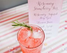 Rosemary-infused strawberry gin fizz