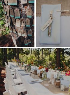 I like the Idea of the name tags on the tree an the bird seed wedding favors