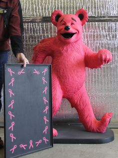 Breast Cancer PINK Greatful Dead Walking Bear Advertising Sign Hippie Art Korman
