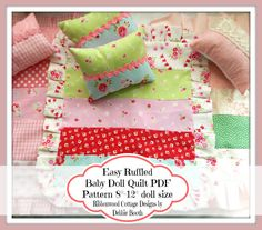 PDF Easy Ruffled Baby Doll Quilt Pattern  812 by RibbonwoodCottage