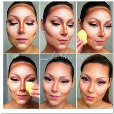 How to highlight and contour your face with makeup like a pro? The contouring and highlighting have become her signature beauty tricks in order to restructure her face and accentuate her best features. Makeup 101, Makeup Guide, Eye Makeup, Hair Makeup, Glam Makeup, Face Contouring, Contouring And Highlighting, Highlighter Makeup, Contour Makeup