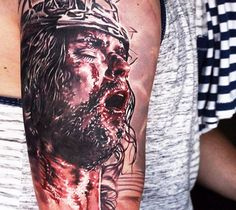 Realistic 3 colors Tattoo style of motive Jesus Christ done by artist Seunghyun Jo