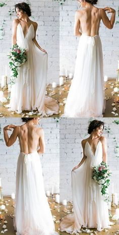 White A-Line Deep V-Neck Open Back Party Dresses,Simple Spaghetti Straps Sleeveless Bridal Dresses.754 Wedding Dress Empire, Greek Wedding Dresses, Wedding Dress Chiffon, Backless Wedding, Bridal Dresses, Wedding Gowns, Bridesmaid Dresses, Prom Dresses, Wedding Venues