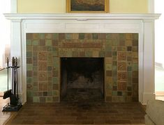 Arts and Crafts Fireplace by Pasadena Craftsman Tile (providers of handmade deco…, – farmhouse fireplace tile Fireplace Bookcase, Fireplace Art, Wooden Fireplace, Simple Fireplace, Fireplace Seating, Candles In Fireplace, Fireplace Cover, Shiplap Fireplace, Fireplace Remodel
