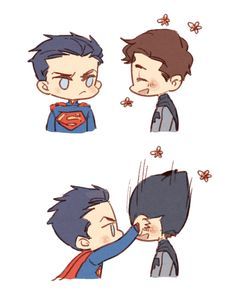They swapped outfits. Apparently, Batman doesn't like Superman's hair with his outfit...