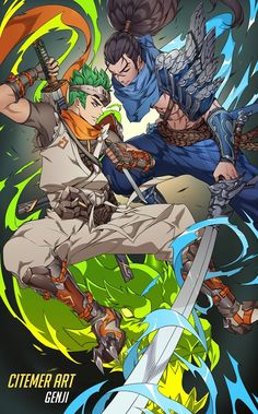 Genji -Overwatch- Yasuo -League of Legends- (Am I the only one who thinks that Yasuo could be like a child to Hanzo & Genji - he's like half Genji, half Hanzo XD) Overwatch Hanzo, Overwatch Comic, Overwatch Fan Art, Shimada Brothers, Genji And Hanzo, Hanzo Shimada, Genji Shimada, Overwatch Drawings, Overwatch Wallpapers