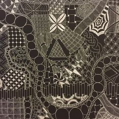 """For sale: one 16""""x20"""" white pen on black canvas. Contact me here or at dubbybydesign@gmail.com for pricing and details. #dubbybydesign #zentangle #inkdrawing"""